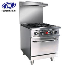 ETL multiple function commercial hot plates open 4 burner stove gas range with griddle / ovens / salamander