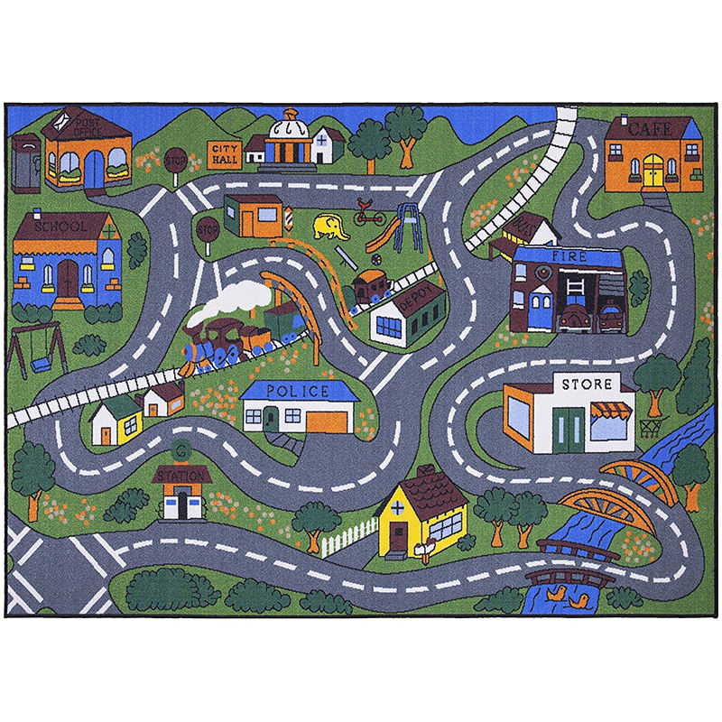 Factory sales anti-slip kids play mat carpet protection rug with road map design