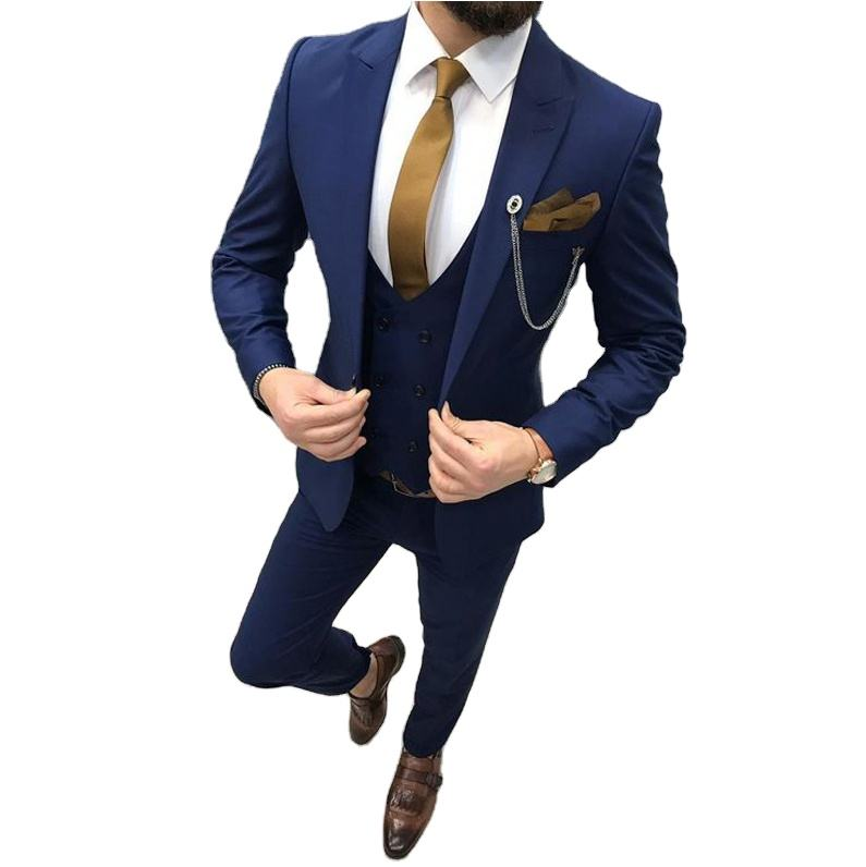 (Jacket + Pants + Vest+Tie) Three Piece Royal Blue Men Suits Peaked Lapel Custom Made Wedding Tuxedos Slim Fit Male Suits