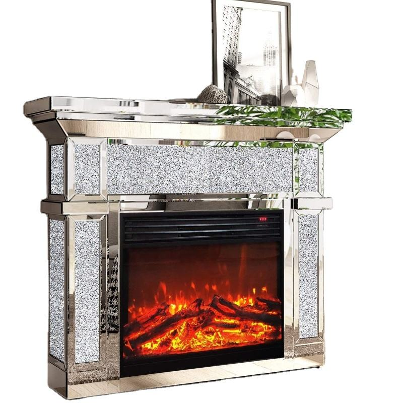 Luxury Indoor silver crushed diamond crystal white Glass living room mirrored fireplace