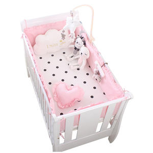 newborn bumper children infant girls pink baby crib bedding