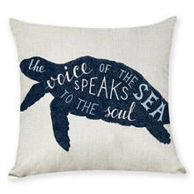 Cute Nautical Animal Pillow Case Navy Sea Turtle With Ocean Quote Pillow Cover Cotton Linen Zippered