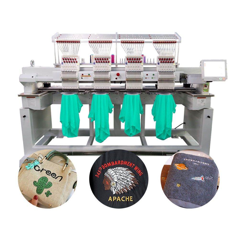 large format multicolor 1-4 heads 9/12/15 needles flat monogram machine cap bag t-shirt embroidery machine