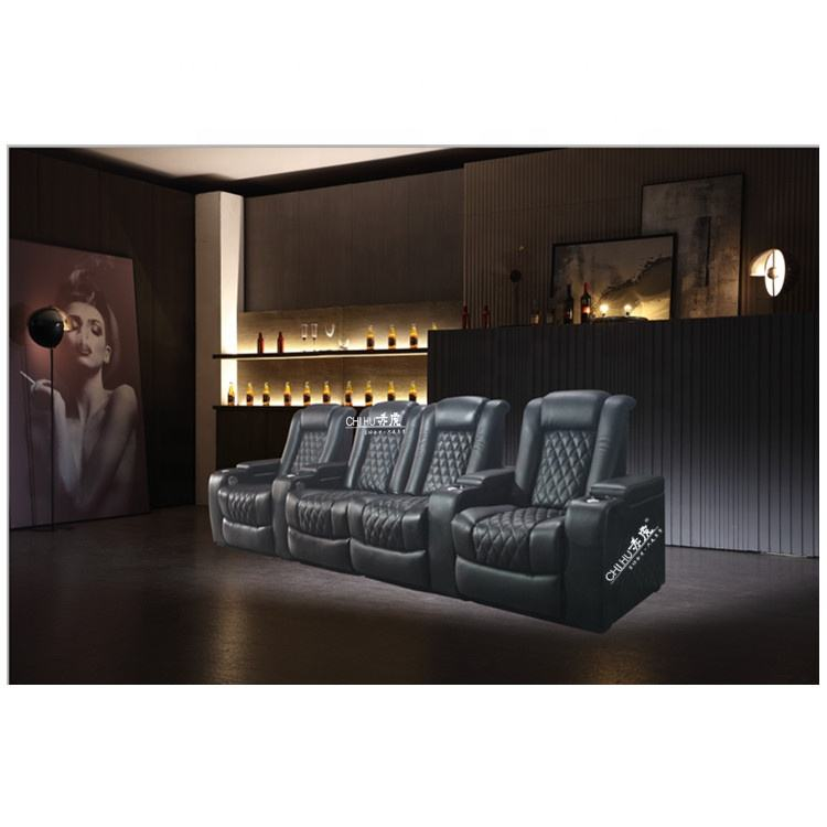 Moderne echt home theater sofa, elektrische fauteuil home theater zitplaatsen