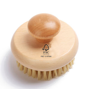 Natural sisal vegan bristle bamboo and round body brush