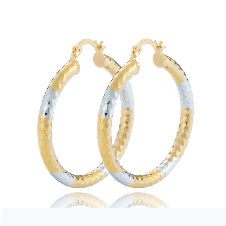 RTS Stock Two Tone Earrings Gold Filled Siver And 18k Gold Plated Jewelry Wholesale Brass Hoop Earring 40mm