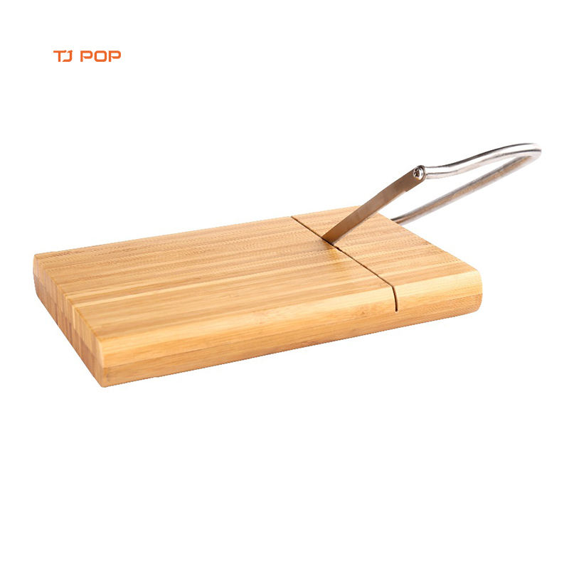 Personalized Bamboo Cheese Cutting Board with Stainless Steel Wire Cheese Slicer