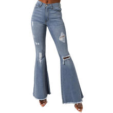 2019 New Casual Denim Pants For Women Sky Blue Flying Distressed High Rise Flare Denim Jeans