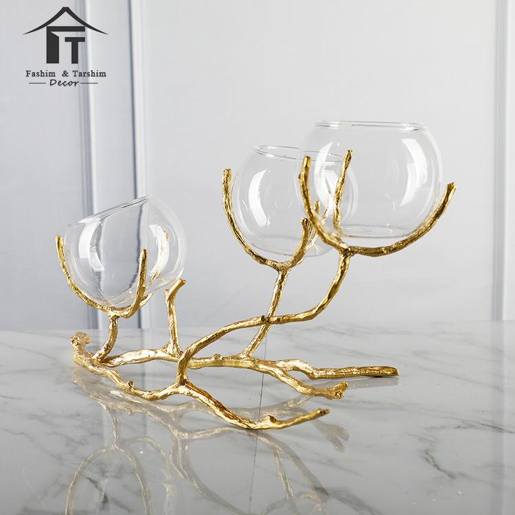 Tiempo solo tallo lámparas jarrón para flores florero de vidrio soplado decorativo cobre Dubai florero