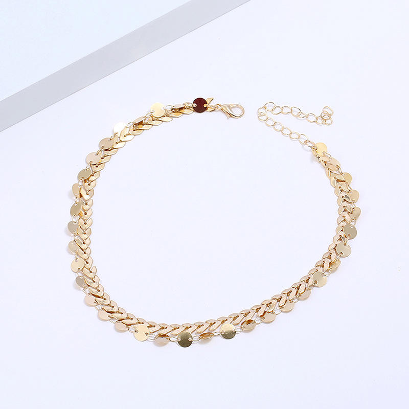 Gold Color metal Two Layer Choker Necklaces Fishbone Chain simple jewelry collana Kolye Bijoux Collares Mujer collier femme