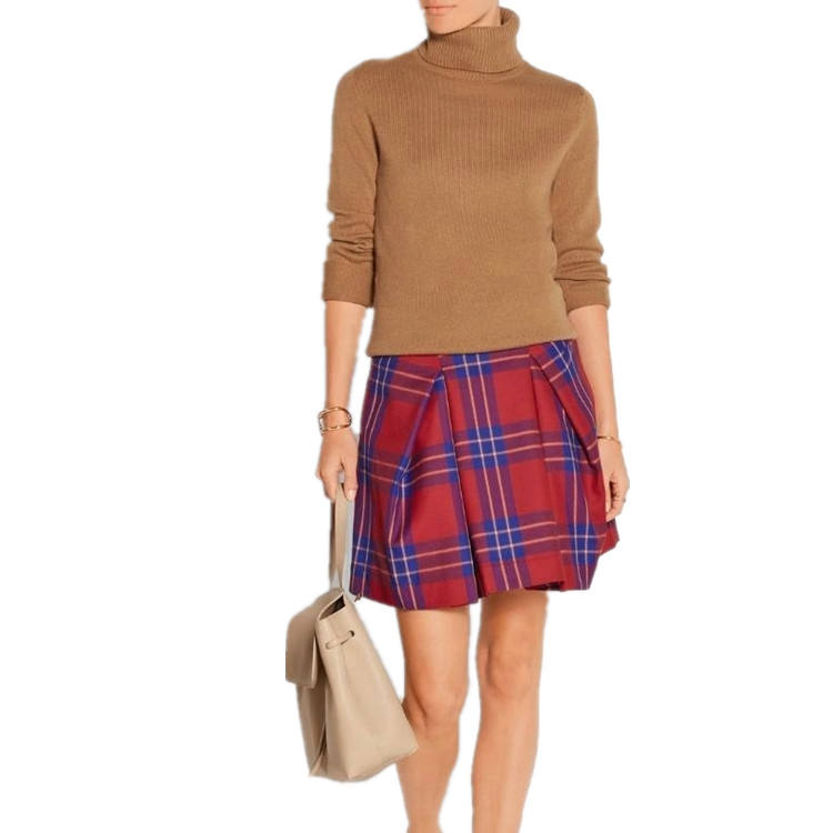 Young girls' style preppy chic red checked A line skirt for 2015 winter