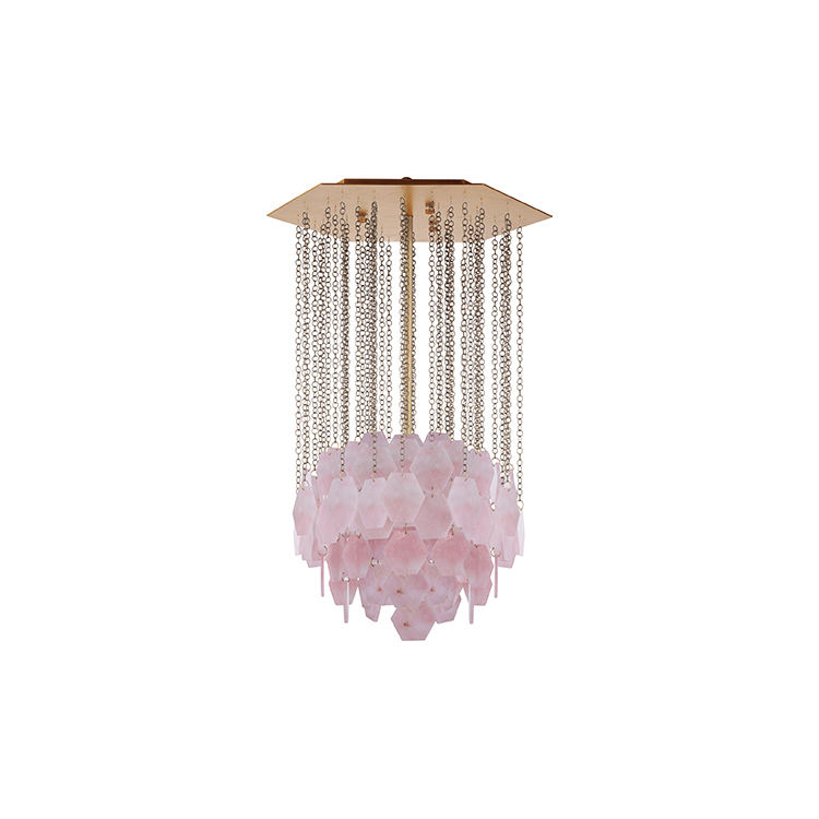Modern Luxury Natural Pink Crystal Antique Brass Pendant Lamp Ceiling For Girl 's Room