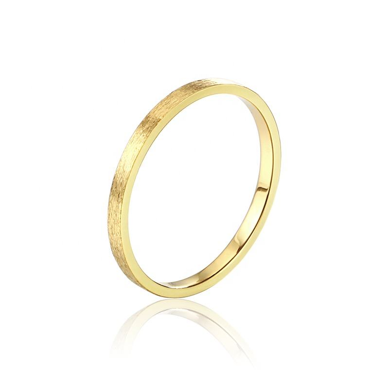 Wholesale Couple Ring Dull Polished 1.8mm Gold Personalized Stackable Band Rings Jewelry Women