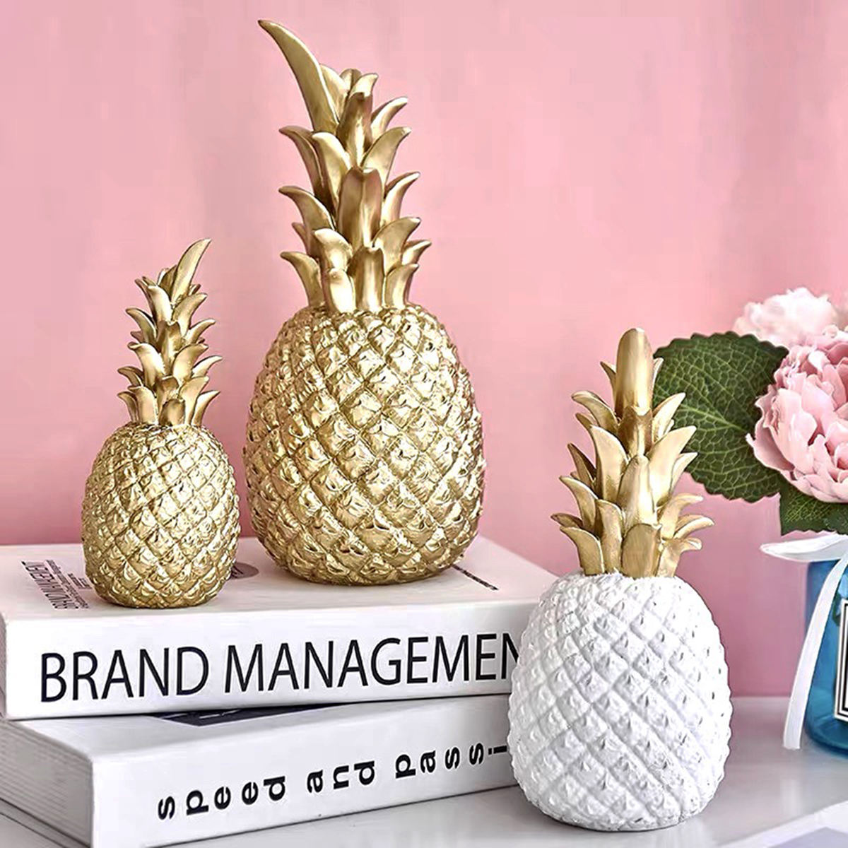Creative Pineapple Decoration Nordic Fruit Shape Golden Pineapple Decoration Resin Black White Home Bedroom Desktop Deco