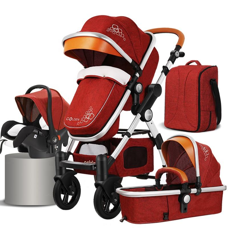 Luxury baby pram 3 in 1 european foldable pram baby pram stroller 3 in 1 leather 4 in 1 stroller lightweight travel system