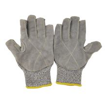half fingers cut resistant 5 level safety work gloves palm reinforced with leather