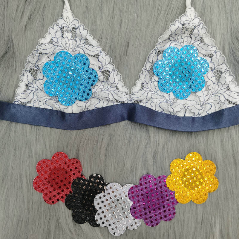 Fashion Sequins Fabric Custom Pasties Different Colors In Stock Disposable Petal Nipple Pasties