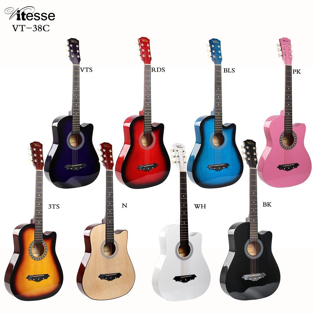 VT-38C Best Price Vitesse Professional Beginner Practice Acoustic Guitar Wholesale Wood Body Guitar For Sale