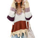 Winter Colorblock Distressed Pullover Knit Women Loose Sweater