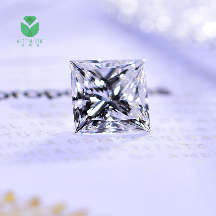 princess cut polished white princess shape hpht cvd lab grown white loose lab diamond