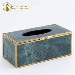 Lower Cost Natural Marble Luxury Restaurant Hotel Rectangle New Design Tissue Boxes For Decoration