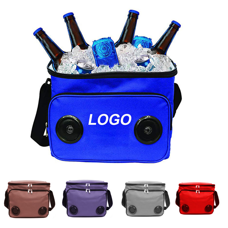 Cans Beer Cooler Travel Picnic Insulated Bag Beach Shoulder Cooler Bag with Built in Bluetooth Speakers