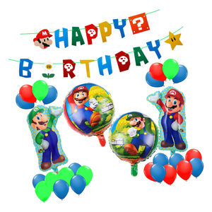 Mario Foil Balloon Set Birthday Party Pack Super Mario Bros Happy Birthday Balloons Set Banner Party Supplies Decorations