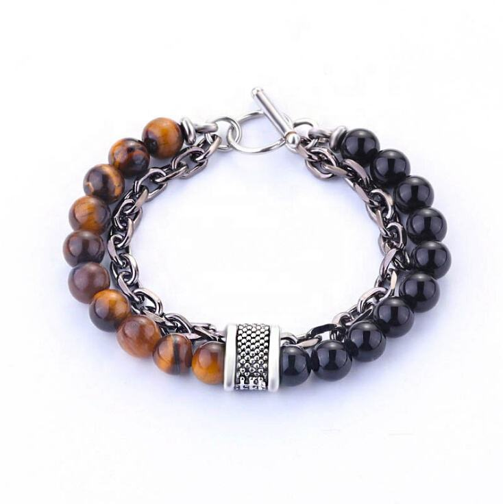Mens metal chain natural stone tiger eye stones beaded bracelet for gift