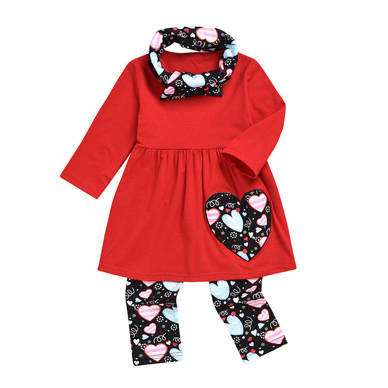 Children boutique outfit baby girl tops pant matching scarf 3 pieces kids clothing set
