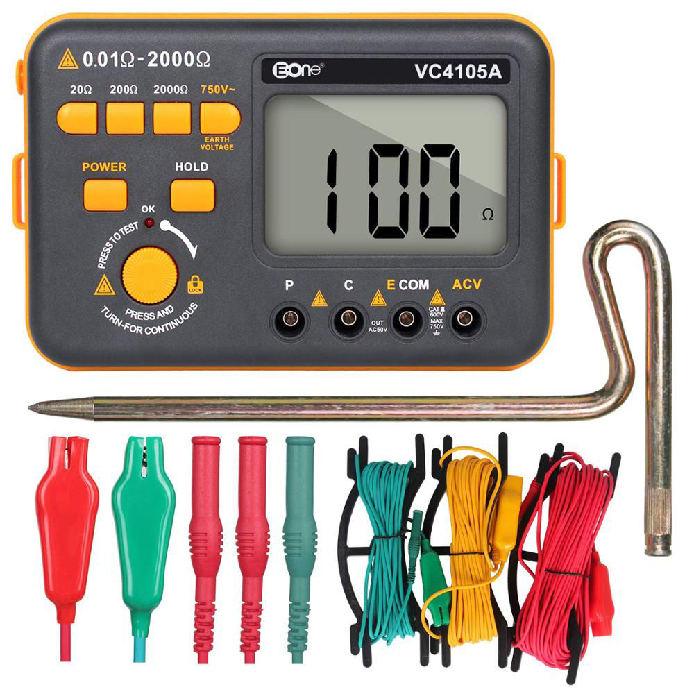 VC4105A Digital Earth Ground Resistance Tester Dust Moisture Proof Resistance Multimeter Digital Earth Tester Current AC Voltage
