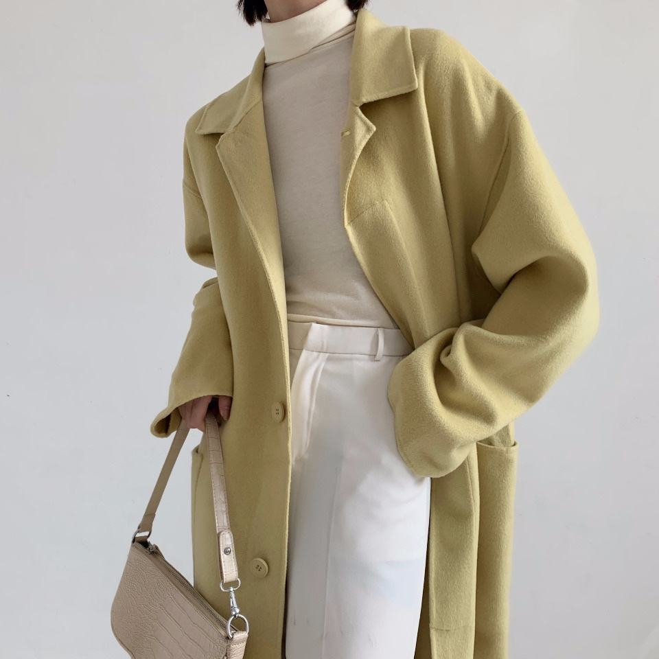 2020 new current handsewn anti-pilling double side womens long100% wool coat in winter