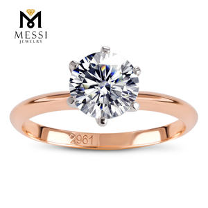 Messi Jewelry 2ct Classical Moissanite Wedding Ring Jewelry 14k Gold Moissanite Rings
