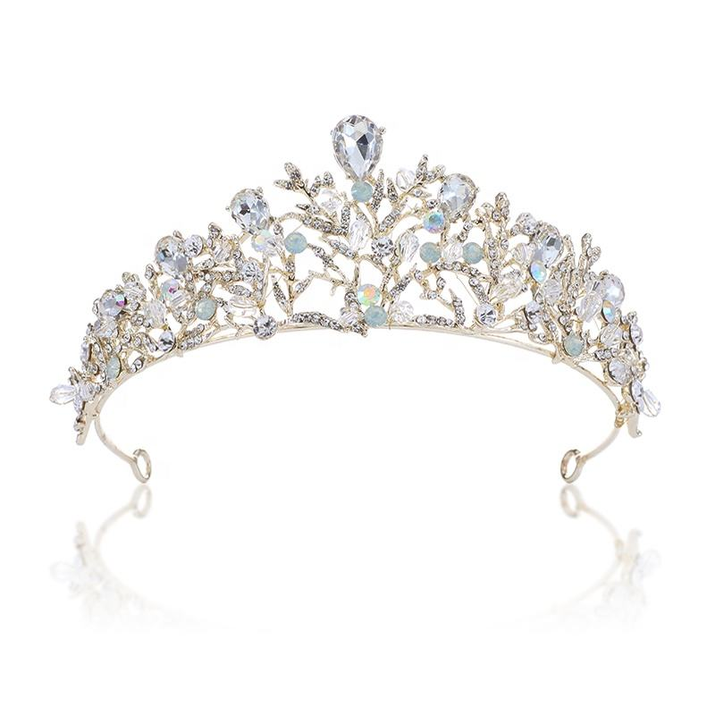 Luxury High Quality Handmade Gold Bridal Hair Accessories Crystal Rhinestone Bridal Wedding Crown
