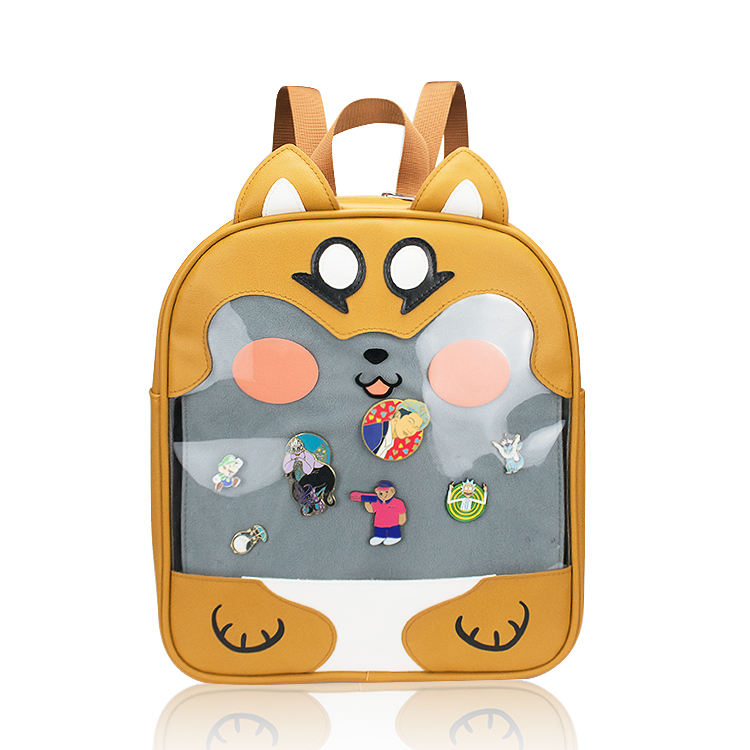 Waterproof Cute Women Girls PU Leather Clear Pin Display School Cosplay Backpack Custom ITA Bag