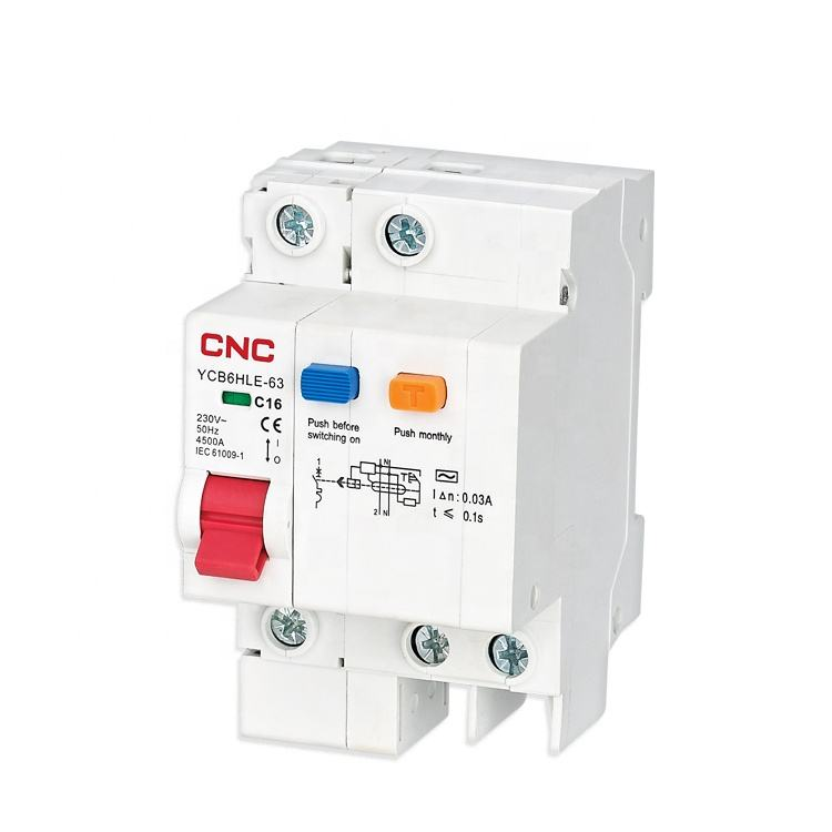 YCB6HLE-63 Series RCBO 4.5ka 1P+N ac 230V/400V Residual Current Circuit Breaker With Over Current Protection