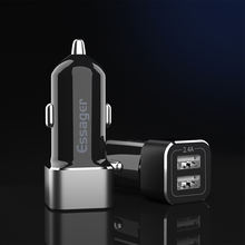 Essager 2.4A Dual USB Fast Charging Aluminum Alloy ABS Car Charger With LED