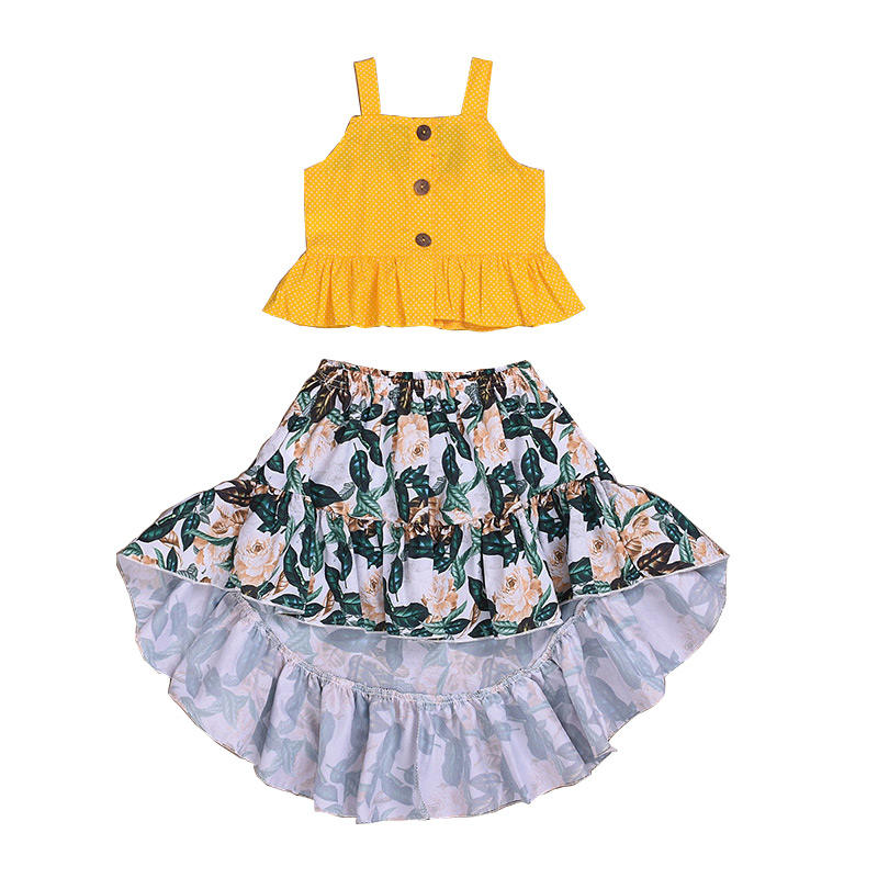 DGFD-014 Summer Floral Printing Blouse 1-6T Baby Girls Top Skirt