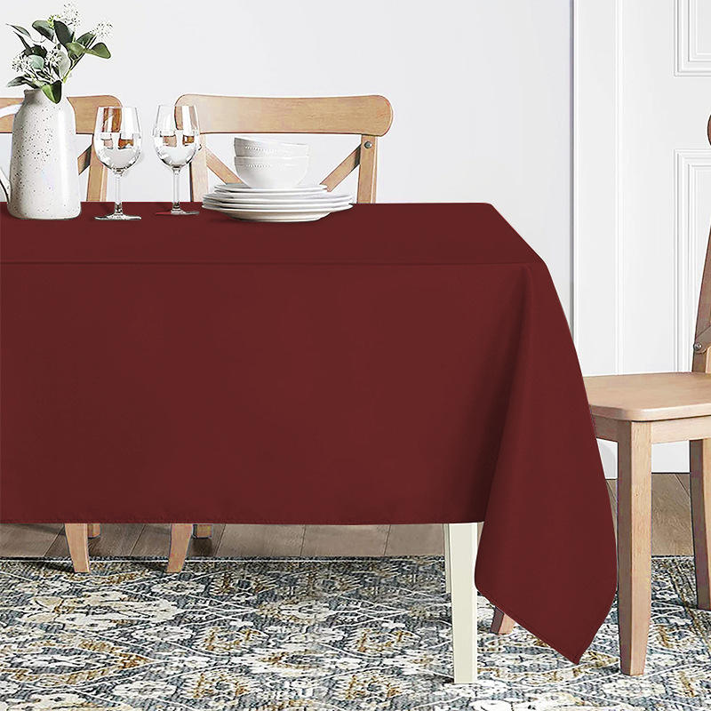 Hot Sale Burgundy Craft and Party Polyester Tablecloth for Home, Party, Wedding, Restaurant