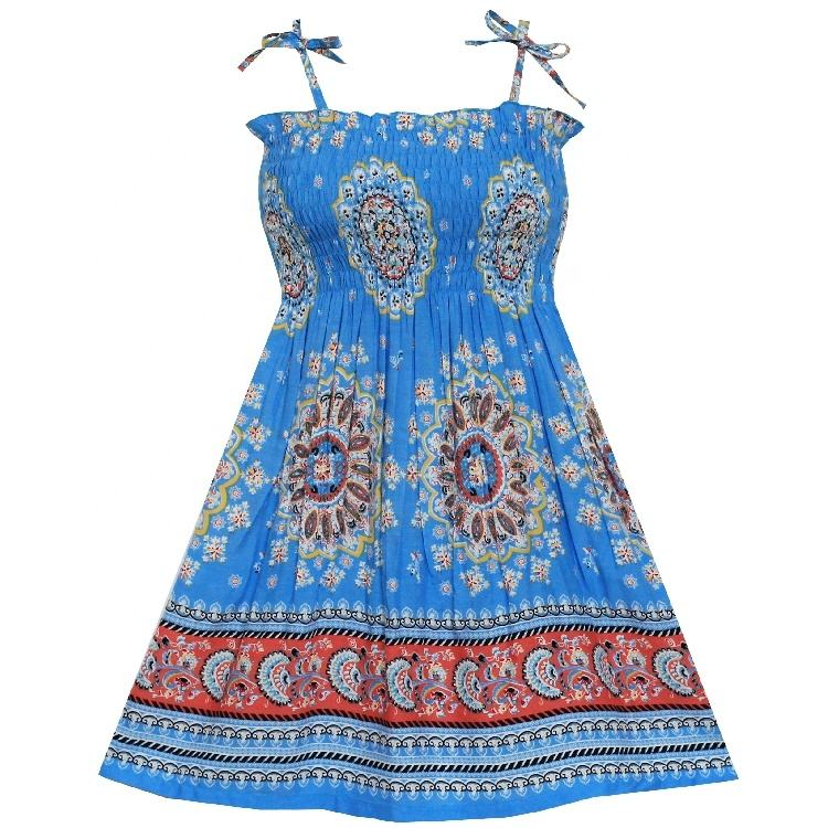 HH5 Summer Casual Smock Halter Holiday Blue Cotton Boho Spaghetti Girls Dress