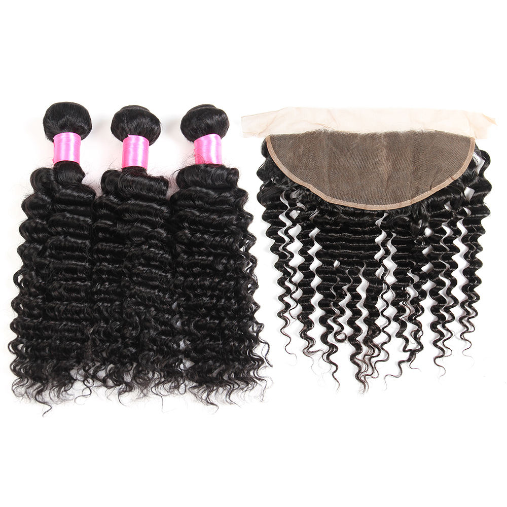 9A Grade Peruvian Hair 3 Bundles With Closure, Packet Human Hair With Closure, Wholesale Human Hair Weave Bundle With Closure
