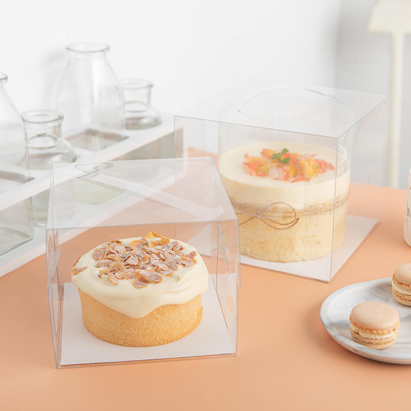 ZL Wholesale Square Plastic Transparent PVC Cheese Cake Food Packaging Cheap Sushi Pastry Box Clear Cake Box With Handle