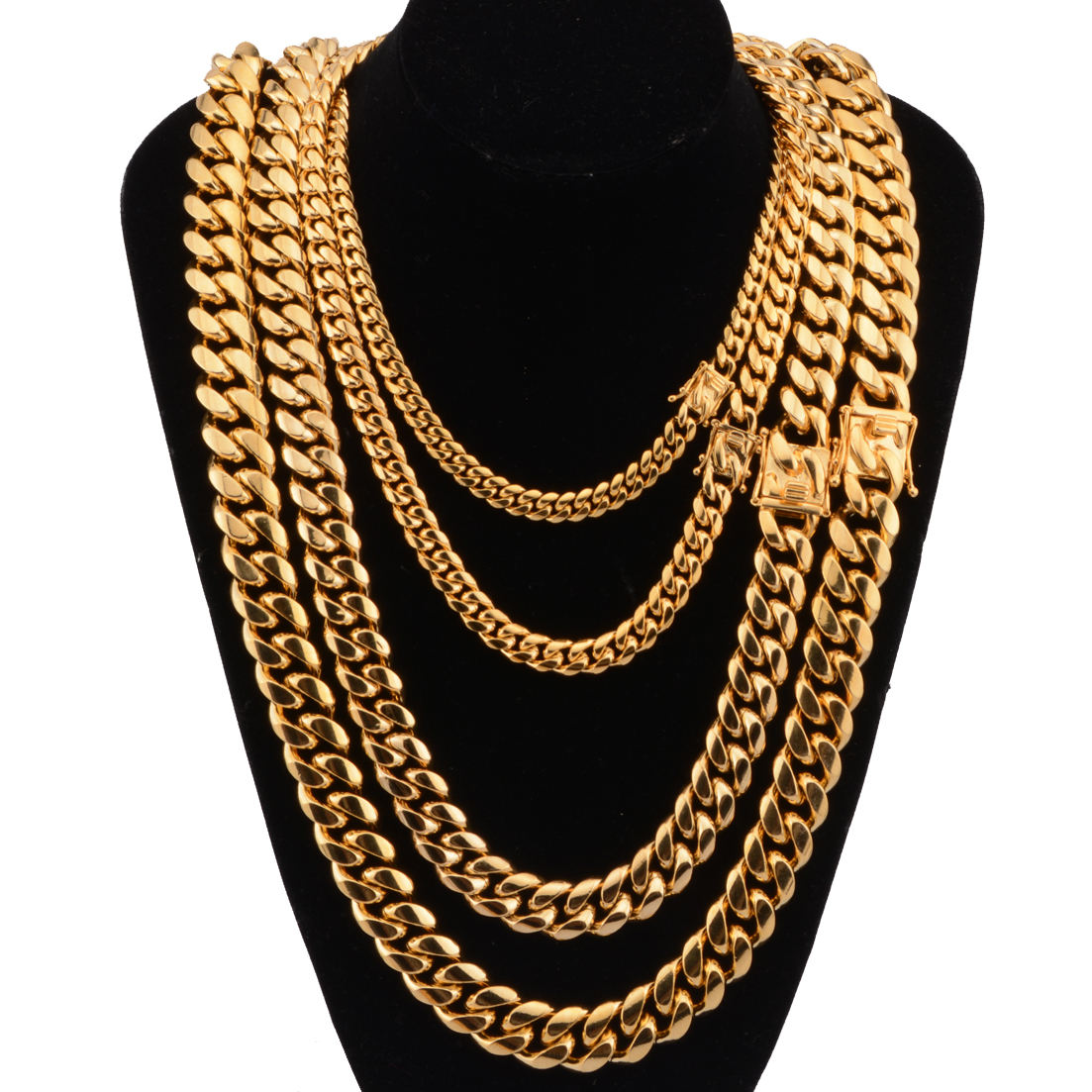 8mm 10mm 12mm 14mm 16mm 18mm HipHop Stainless Steel Gold Miami Cuban Link heavy metal Bling Chain Necklace for Men Women