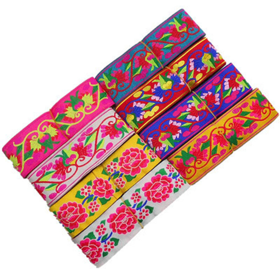 Ethnic Embroidery Fabric Lace Sewing Trims 5cm Width Tribal Indian Boho Fashion Decorative Webbing for Cloth