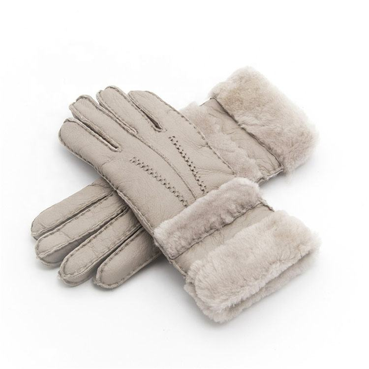 Winter Gloves Women Sheepskin cashmere Fur Warm Gloves Ladies Full Finger Fashion Genuine Leather mitten Five Finger gloves