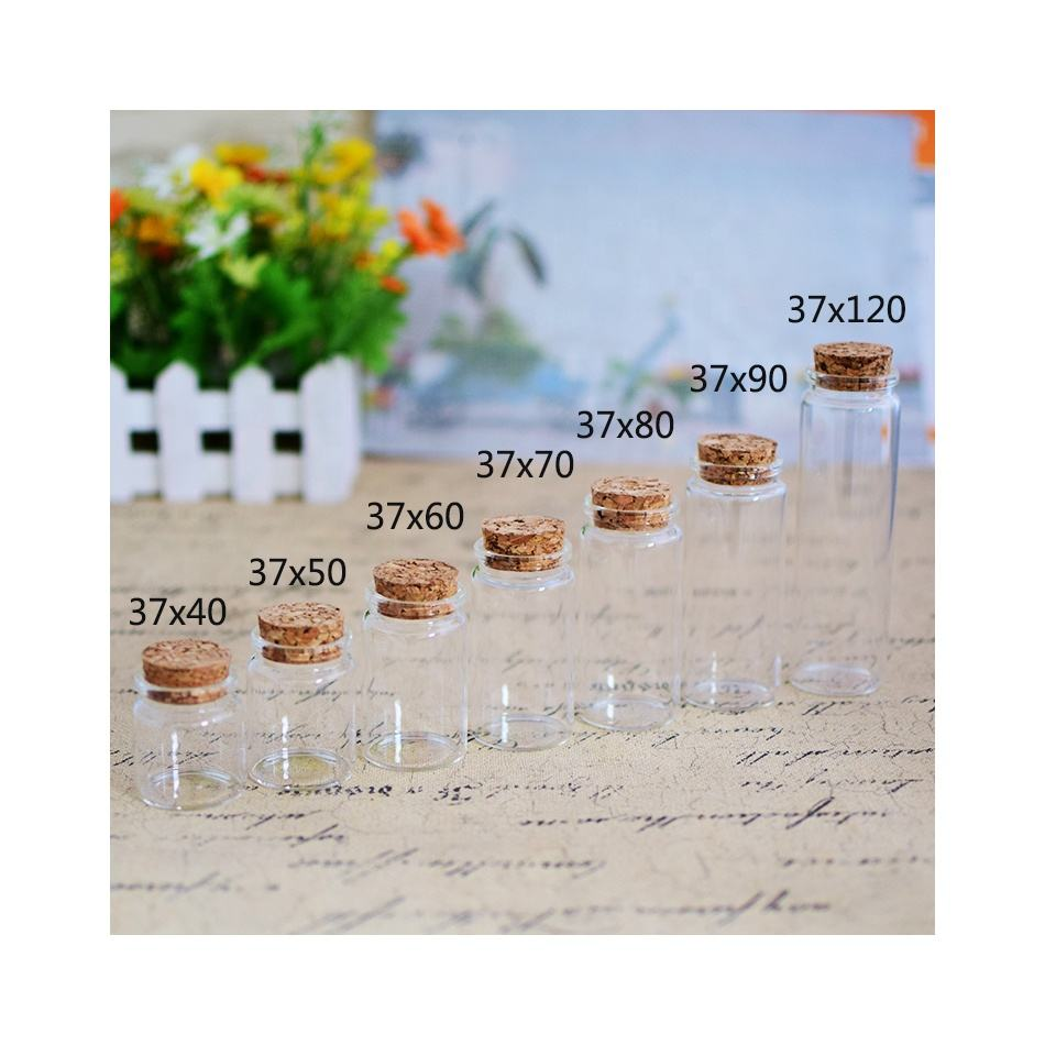 25ml 30ml 50ml 70ml 80ml 90ml mini small glass jar with cork lid stopper