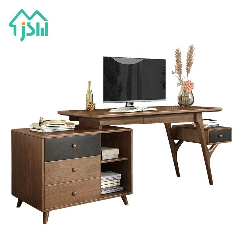 Chinese Style Modern Walnut Wooden Office Furniture Set Computer Office Desk