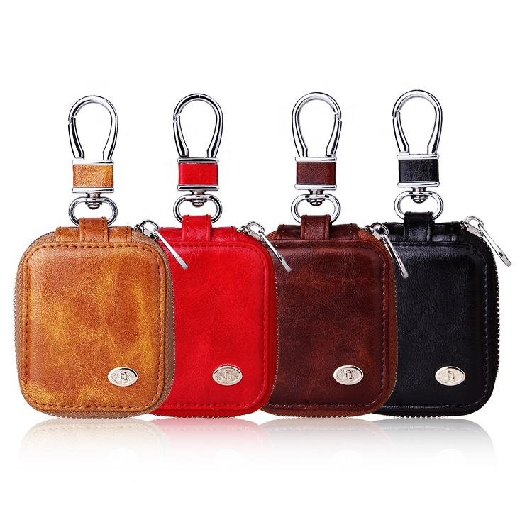 easy carry business style pu leather headphone case bag for Airpods/cable earphone/USB cable