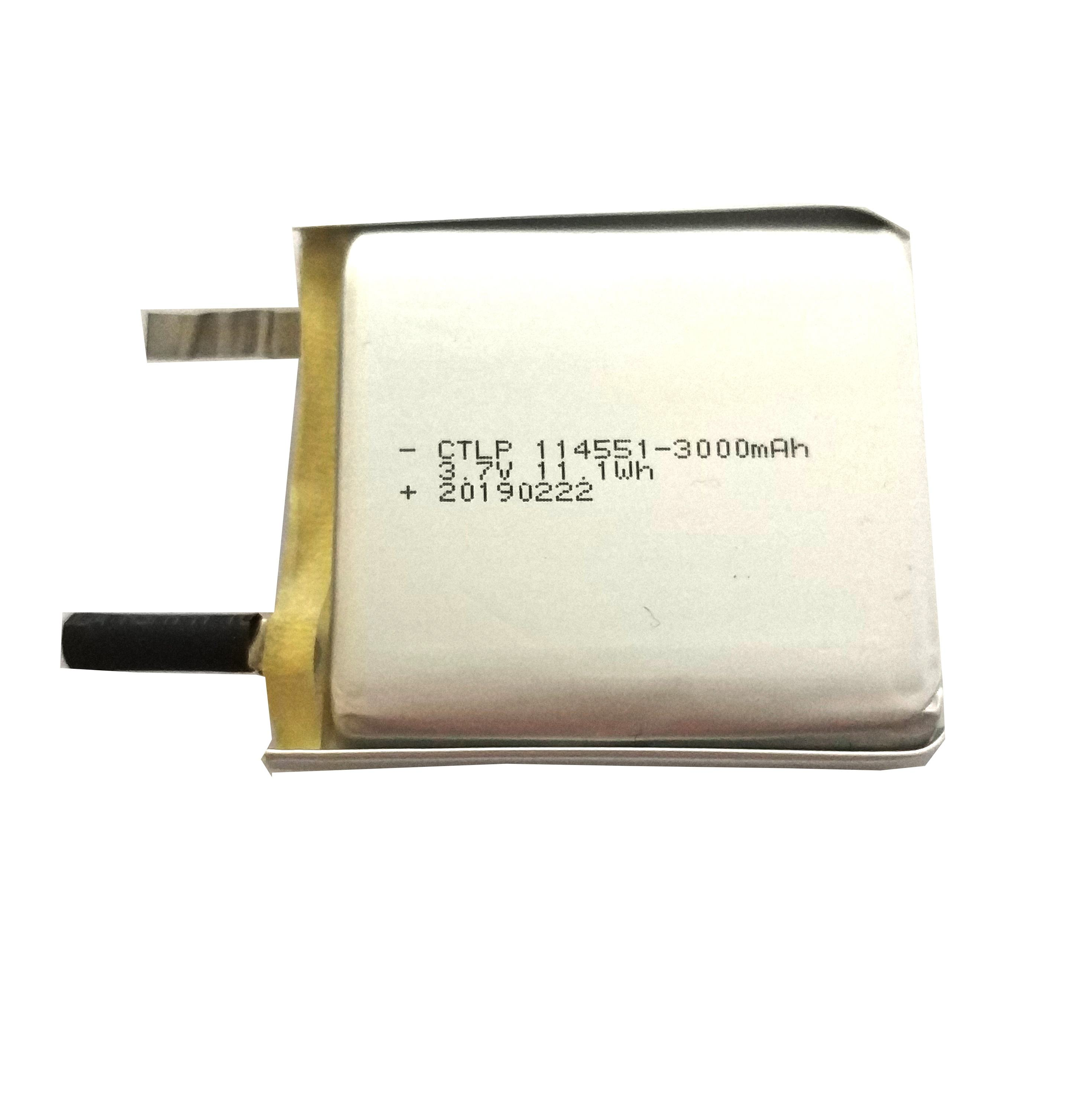 3.7V Lipo Battery 3000mAh 11.1Wh 114551Customized Battery Pack with PCB OEM Lithium Polymer Batteries