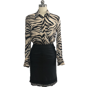 2021 new design chiffon long sleeve Zebra print women elegant design shirt blouse for office lady with pockets