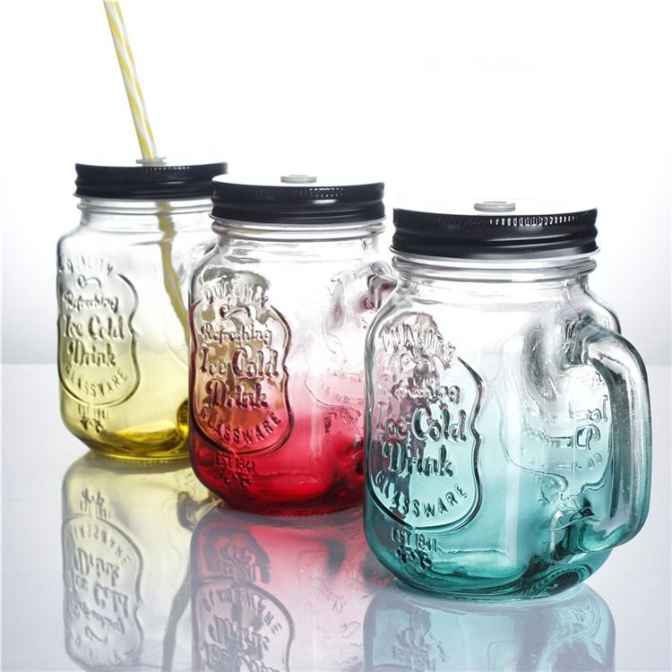 Stocked manufacturer sale 16.5oz custom made embossed logo 480ml wide mouth glass mason jars with metal lid stem